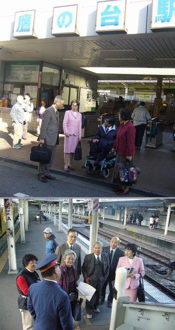 駅を調査する笠井議員ら