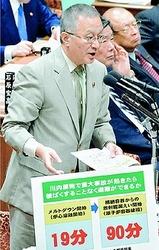 日本共産党の笠井亮議員は、10月30日の衆院予算委員会の質問で安倍首相に「川内原発再稼働中止」を迫りました。